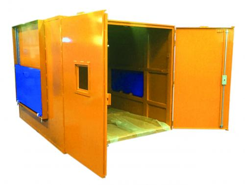 Shielded cabinet with manual doors and automatic hatches - tire industry