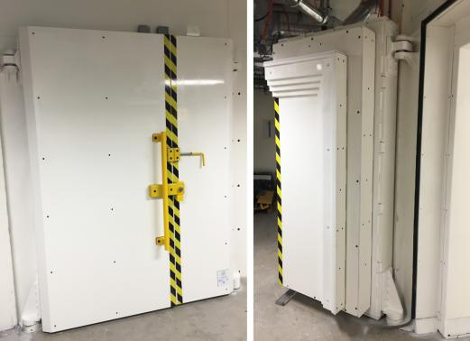 CERN - Geneva - Steel Shielded partition (400 mm) and shielded manual door with 2 leafs - Weight 37 tons
